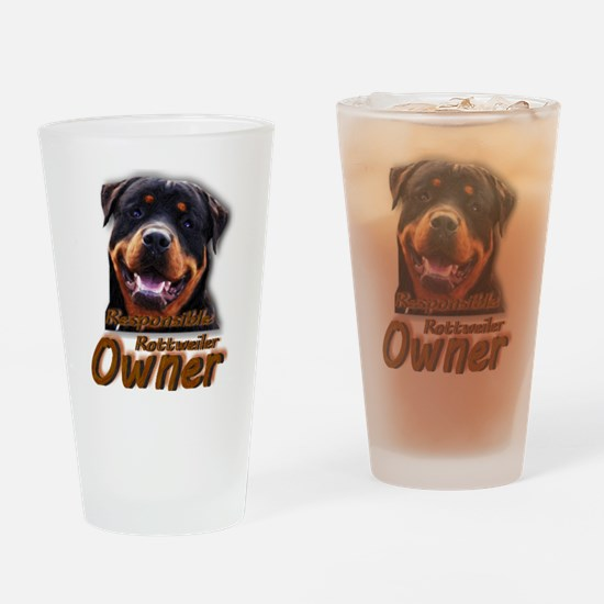 Responsible Rott Owner Drinking Glass