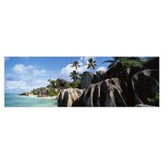 Rock formations on the beach, Anse Source Dargent  Poster