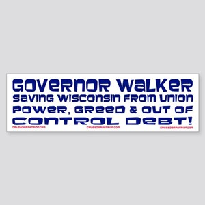 Governor Walker Saving Wisconsin! Sticker (Bumper)