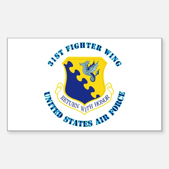 31st Fighter Wing with Text Sticker (Rectangle)