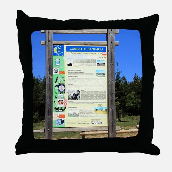 El Camino sign, near Cruz de Ferro Throw Pillow