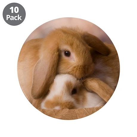"Cuddle Bunnies 3.5"" Button (10 pack)"