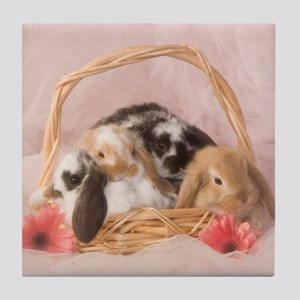 Basket Bunnies Tile Coaster