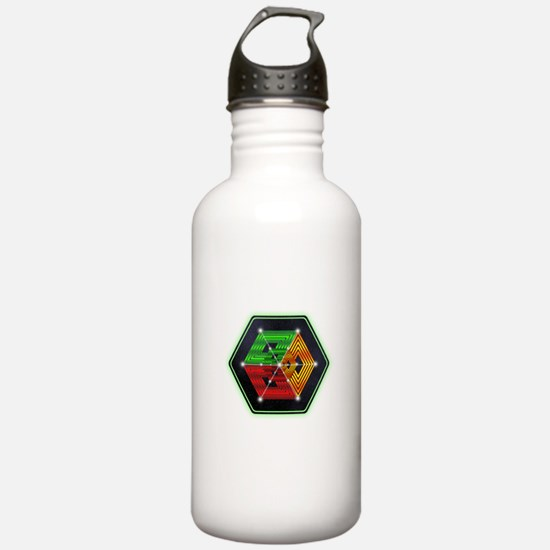 4D Hypercube Crop Circle Water Bottle