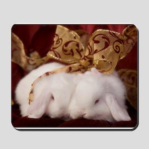 Christmas Bow Bunnies Mousepad