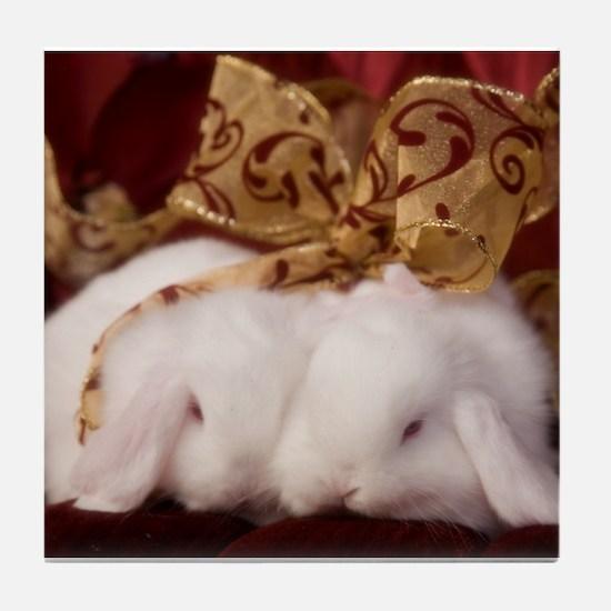 Christmas Bow Bunnies Tile Coaster