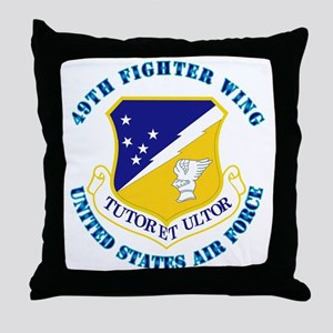 49th Fighter Wing with Text Throw Pillow