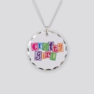 Crafty Girl Necklace Circle Charm