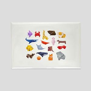 Origami Animals Rectangle Magnet