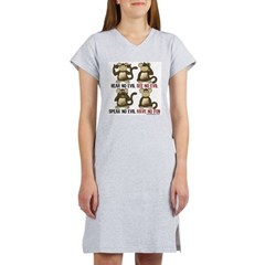 No Evil Fun Monkeys Women's Nightshirt T-Shirt
