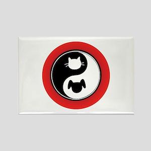 Yin Yang Cat Dog Rectangle Magnet