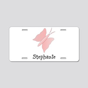 Pink Butterfly Design Aluminum License Plate