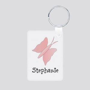 Pink Butterfly Design Aluminum Photo Keychain