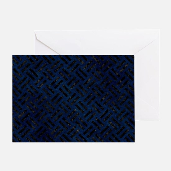 WOVEN2 BLACK MARBLE & BLUE GRUNGE (R Greeting Card