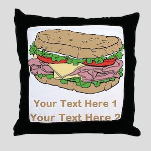 Sandwich. Custom Text. Throw Pillow