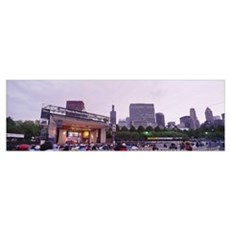 Group of people sitting at Chicago Blues Festival, Framed Print