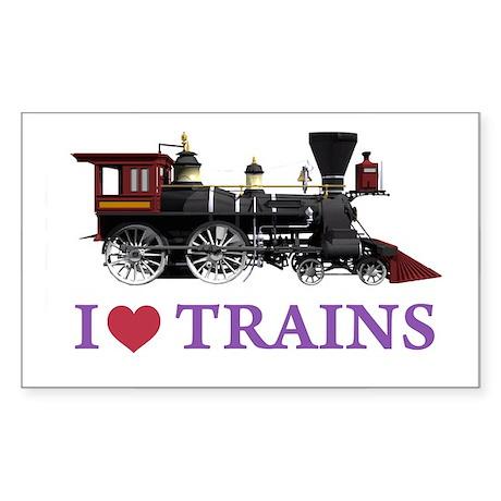 I LOVE TRAINS Sticker (Rectangle)