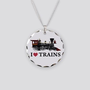 I LOVE TRAINS Necklace Circle Charm