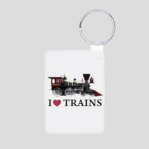 I LOVE TRAINS Aluminum Photo Keychain