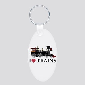 I LOVE TRAINS Aluminum Oval Keychain