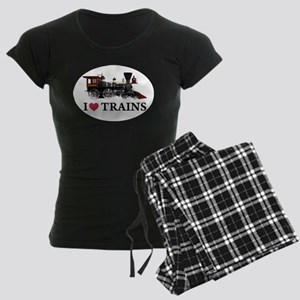 I LOVE TRAINS Women's Dark Pajamas
