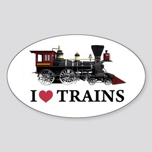 I LOVE TRAINS Sticker (Oval)