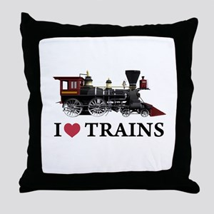 I LOVE TRAINS Throw Pillow