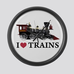 I LOVE TRAINS Large Wall Clock