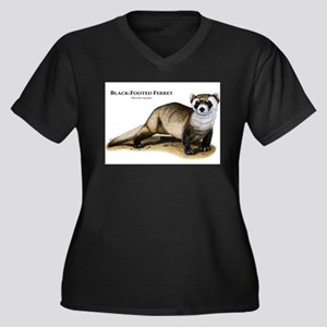 Black-Footed Ferret Women's Plus Size V-Neck Dark