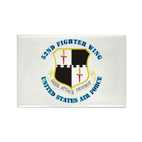 52nd Fighter Wing with Text Rectangle Magnet