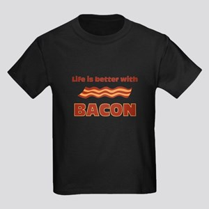 Life Is Better With Bacon Kids Dark T-Shirt