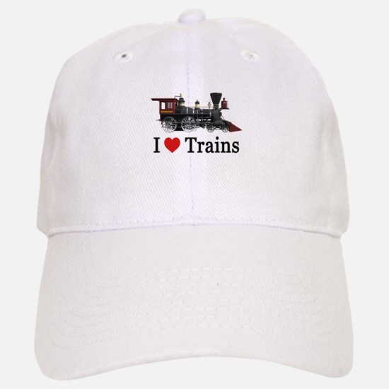I LOVE TRAINS Baseball Baseball Cap