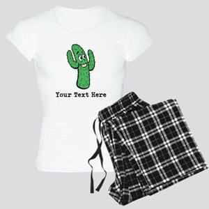 Desert Cacti. Custom Text. Women's Light Pajamas