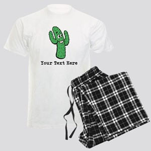 Desert Cacti. Custom Text. Men's Light Pajamas