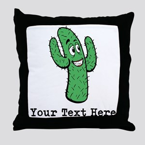 Desert Cacti. Custom Text. Throw Pillow