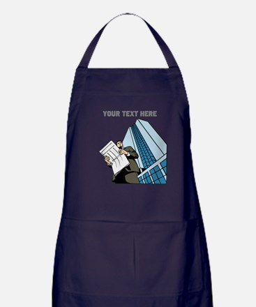 City Worker Man. Your Text. Apron (dark)