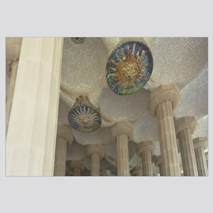 Spain, Barcelona, Parc Guell, Interiors of a build