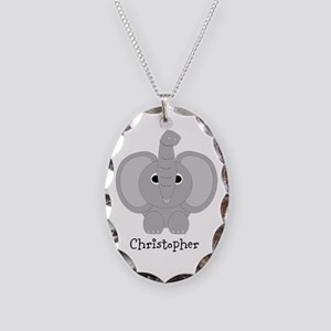 Personalized Elephant Design Necklace Oval Charm