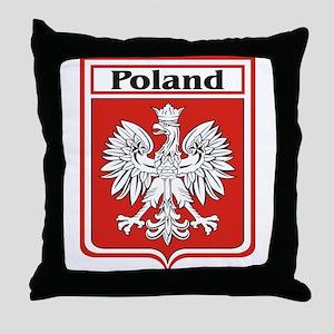 Poland Soccer Shield Throw Pillow