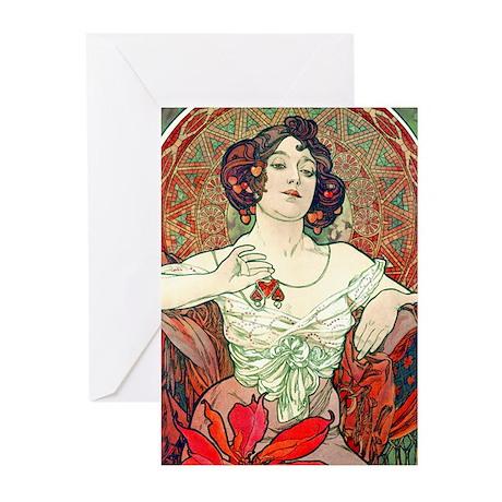 Mucha Rose Greeting Cards (Pk of 10)