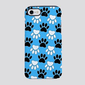 Distressed Black And White Paw iPhone 7 Tough Case