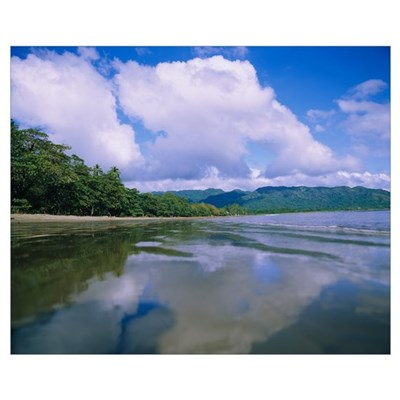 Reflection of clouds in water, Costa Rica Poster