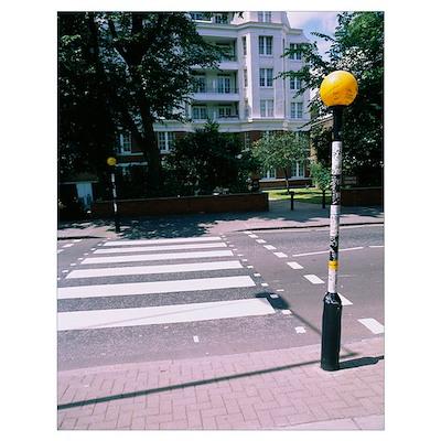 Lamppost at a roadside, Abbey Road, London, Englan Poster