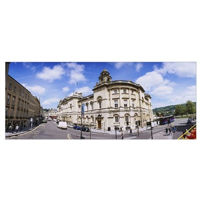Buildings along the road, High Street, Bath, Engla Framed Print