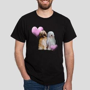 Tibetan Terriers with Heart Dark T-Shirt