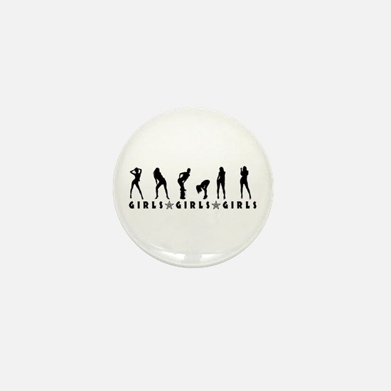 Girls Girls Girls Mini Button