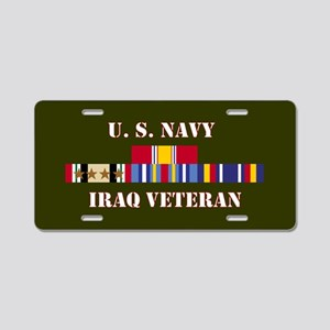 Navy Iraq Veteran 4 Star Aluminum License Plate