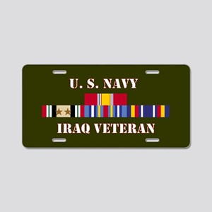 Navy Iraq Veteran 2 Star Aluminum License Plate