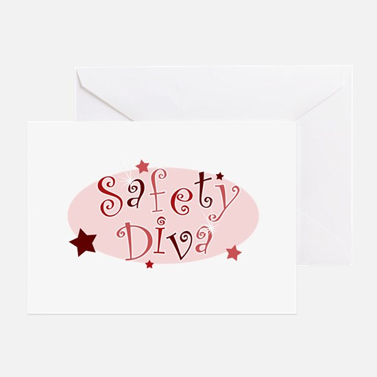"""Safety Diva"" [red] Greeting Cards"