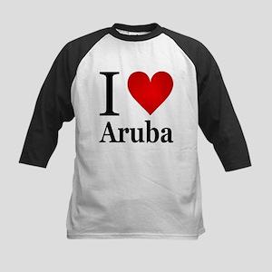 I Love Aruba Kids Baseball Jersey